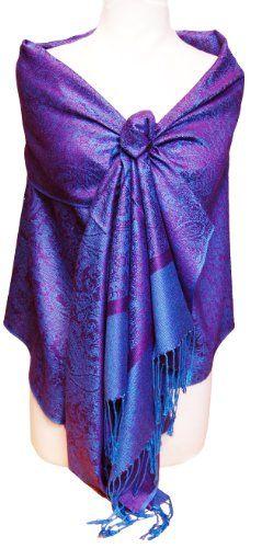 Jacquard Purple & Blue Tone Pashmina Shawl Wrap
