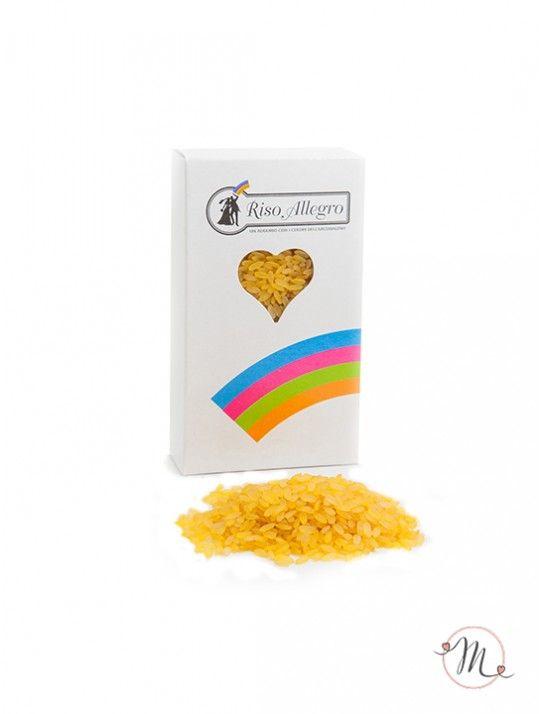 Riso allegro Giallo. Riso Allegro nella tonalità colore giallo. Non contiene amido e non macchia gli abiti neanche in caso di pioggia. Confezione da 200 gr. In #promozione #matrimonio #weddingday #ricevimento #riso