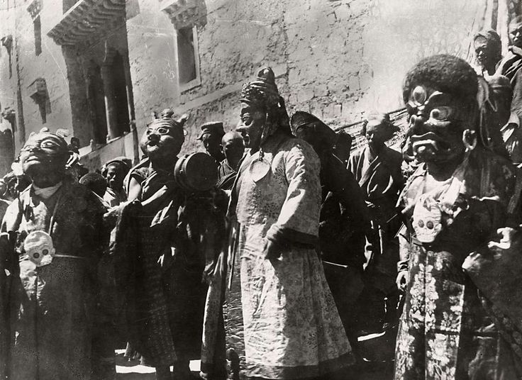 Tibet, 1934. Dancers in Ran Gelong Monastery