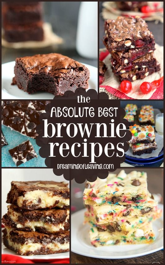 The Absolute Best #Brownie #Recipes from Around the Web   Great dessert ideas and inspiration for all things brownie!   dreamingofleaving.com