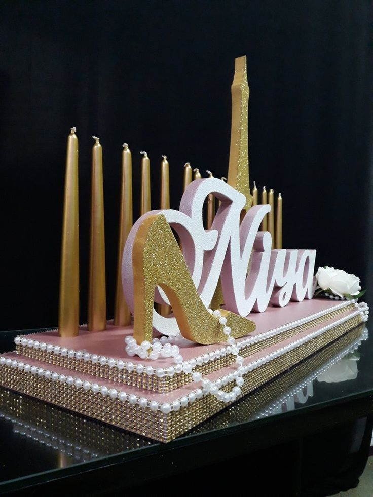 Turquoise and purple color Sweet 16 Candelabra 3D name styrofoam,ROSEGOLD Quinceanera /& Mitzvah Candle Centerpiece