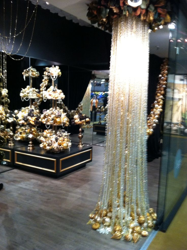 """Over the top elegant and glamorous Holiday display at the showrooms at the Dallas Trade Mart. Very New York or Hollywood glam- stunning, sleek and definitely screams """" I'm so worth it""""."""