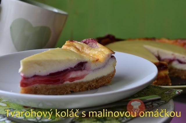 Fotorecept | Tvarohový koláč s malinovou omáčkou