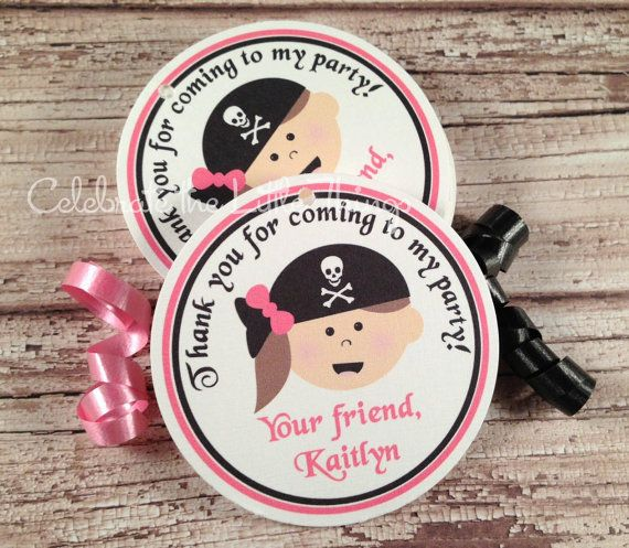 12 PIRATE Favor Tags or Stickers for Girls  :  Pink - Choose Your Favorite Pirate