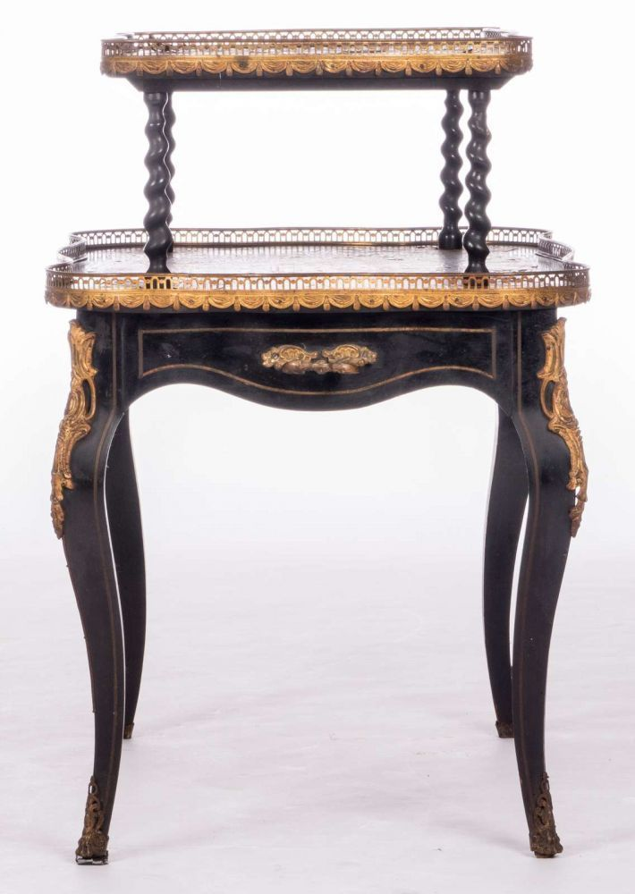 A French tea table, 'en deuil' with Boulle marquetry and bronze mounts, second half of the 19thC, H