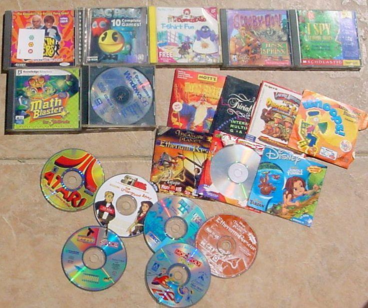 LARGE Lot of 20 KIDS Cd-Rom PC Computer Games DISNEY ATARI PACMAN I SPY SCOOBY