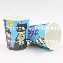 Infantil Chicos Chicas Fiesta de Cumpleaños Avenger Superhéroe Batman Dibujos Animados Gafas Decoración De Papel Desechables Tazas de Consumición Favors 20 Unids(China (Mainland))