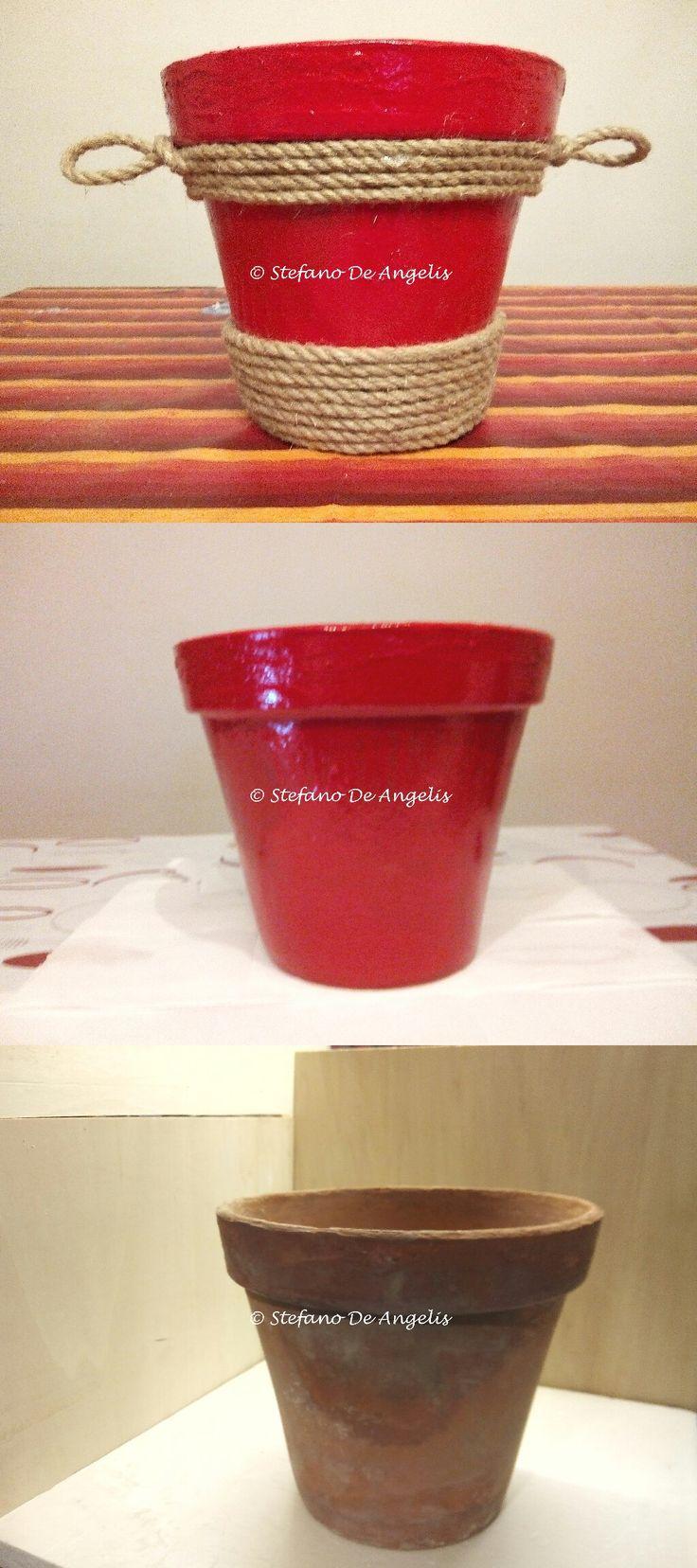 Decorazione vecchio vaso in terracotta  Pittura per esterno ultraresistente  Corda di canapa Colla a caldo