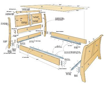 this woodworkers list of woodworking plans features a collection of bedroom this tutorial is for building - Sleigh Bed Frame