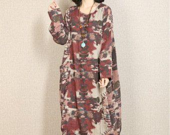 Robe en coton automne femme casual robe en lin par newstar2016