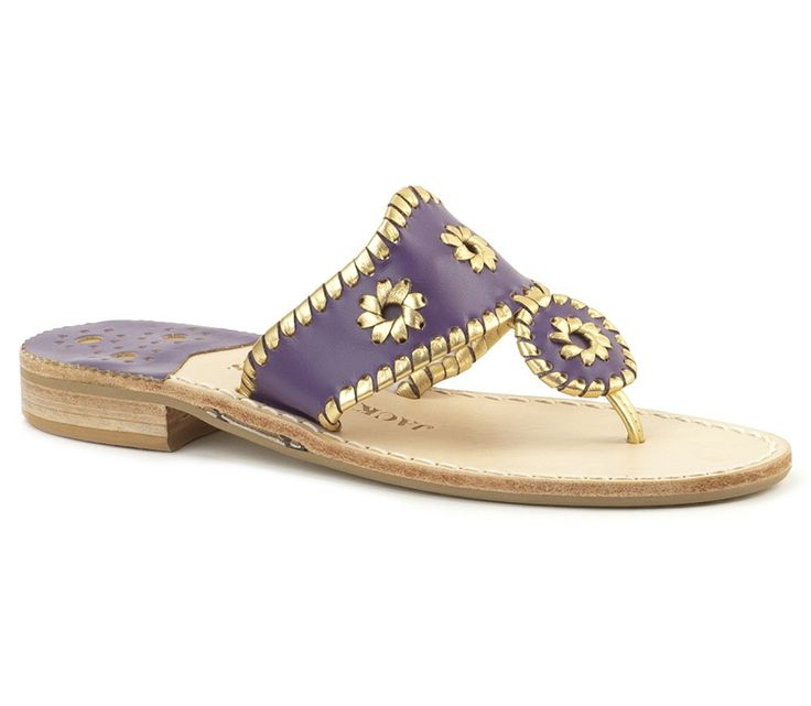 Jack Rogers College Colors - Purple & Gold - Perfect game day attire!  Show off your style and pirate pride in these purple and gold Jack Rogers! #JackRogers #ECU #PurpleAndGold #Pirates #GameDay #EastCarolinaUniversity