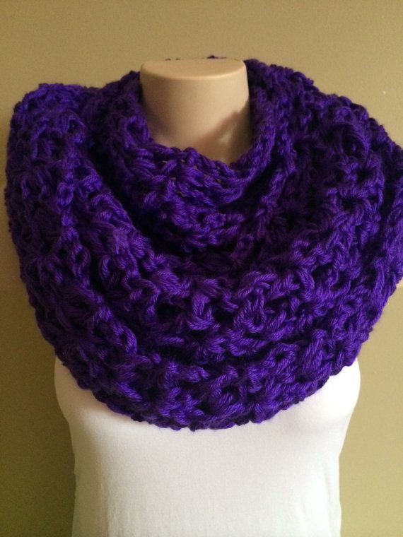 iScarf  Long Crocheted Infinity Scarf  Purple by iHooked on Etsy, $30.00