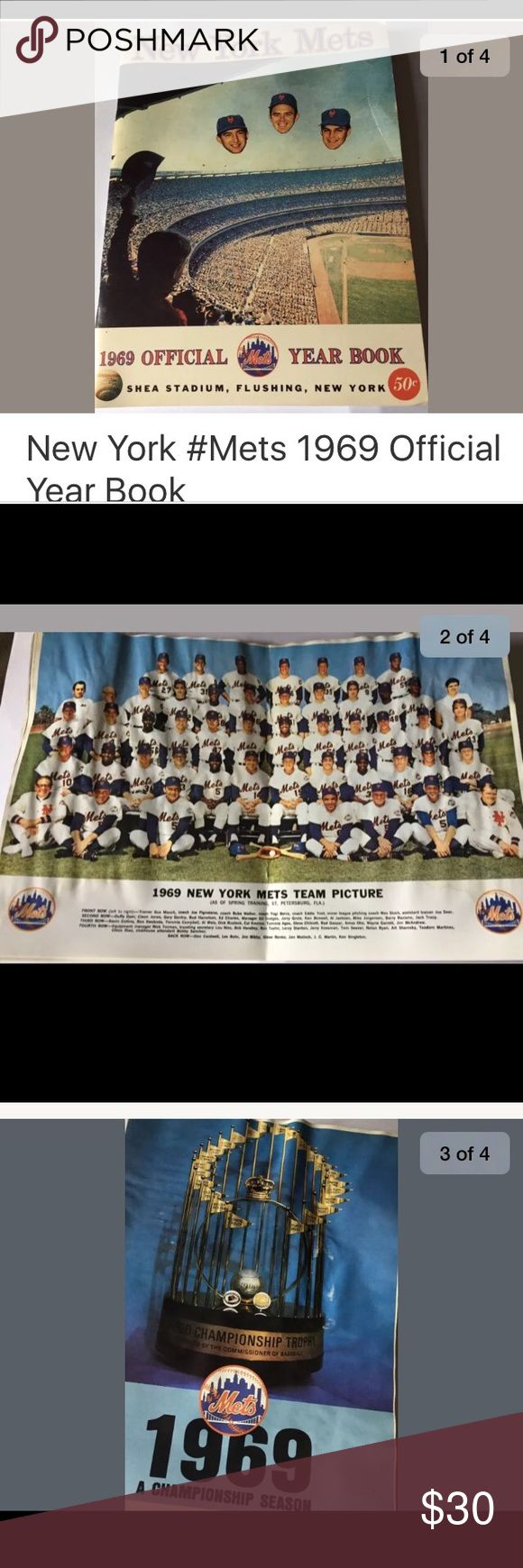 ⚾️1969 NY Mets Yearbook⚾️ A must have for the NY Met's fan. See pictures and stats from the first year the Mets win the World Series. There is some water damage, but the pages are in good condition. Pet free smoke free home. Other