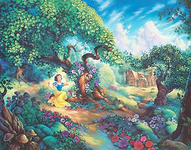 Snow White and the Seven Dwarfs - Snow White's Magical Forest - Tom duBois - World-Wide-Art.com - #disney #snowwhite #dopey #grumpy