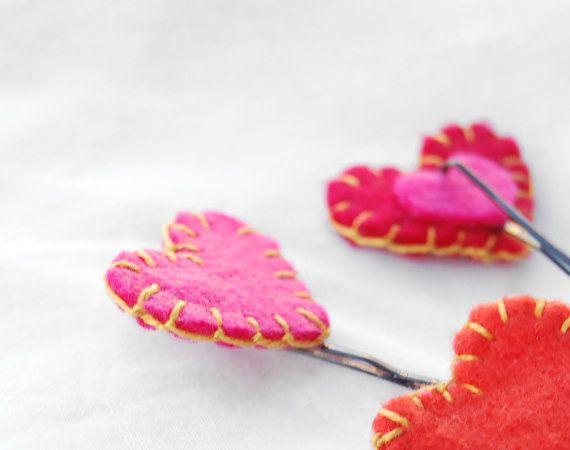 Hearts bobby pins set Valentine gift cute kawaii heart by urBunny
