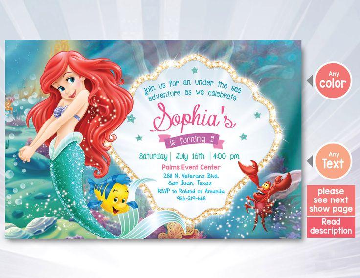 Best Birthday Invitation Images On Pinterest Birthday - Ariel birthday invitations printable
