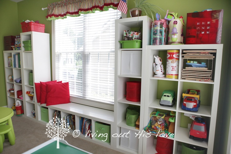I need to think about using my window wall for shelving!!!!  BRILLIANT!  Love the green color, too! from: living out His love: Our Homeschool Room!