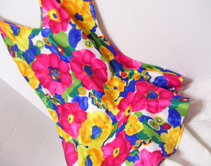 Rainbow Bright Satin Floral Night Gown Red Blue by cachecastle