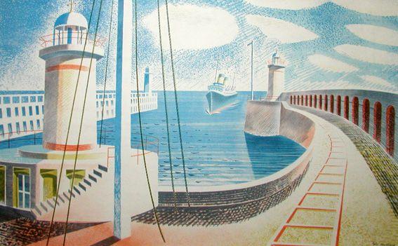 Eric Ravilious. Newhaven. Print 1937