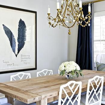 White And Navy Dining Room, Transitional, Dining Room, Benjamin Moore  Balboa Mist,