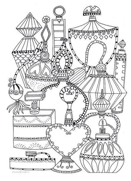 Perfume bottles coloring page colouring for adults for Coloring pages of bottles