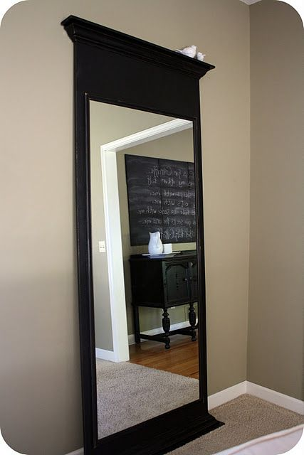 DIY Floor Mirror using builder grade bathroom mirror - Genius!