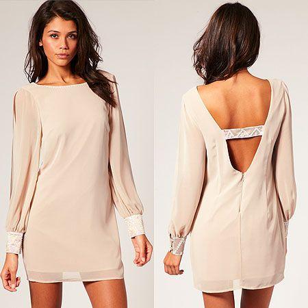 Loveeee: Sleeve Nudes, Low Back Dresses, Cute Dresses, Beige Dresses, Nude Dress, Nudes Dresses, Shift Dresses, Open Back, Long Sleeve Dresses