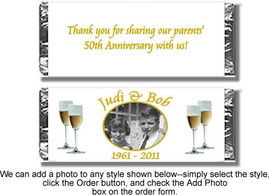 personalized hershey bar wrappers for 50 th anniversary | Personalized Candy Bar Anniversary Favors