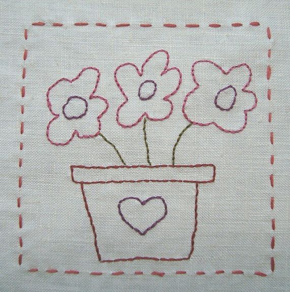 Flowers in Pots Hand Embroidery Pattern by PDF by Stitchingalways
