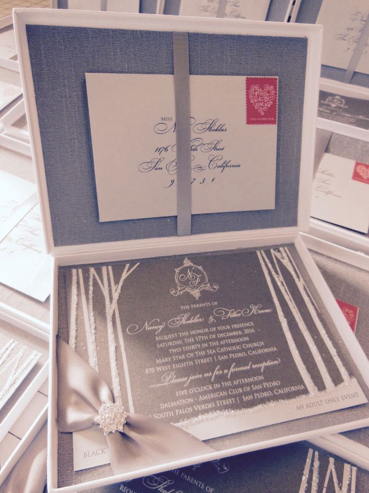 moroccan scroll wedding invitations%0A Winter Wonderland silver silk lined invitation with shimmer  xo  embellishments