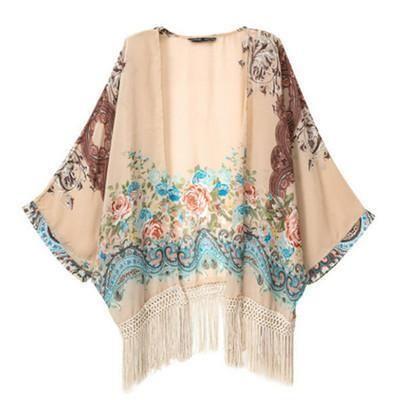 Batwing Sleeves Floral Printed Tassel Kimono Cardigan