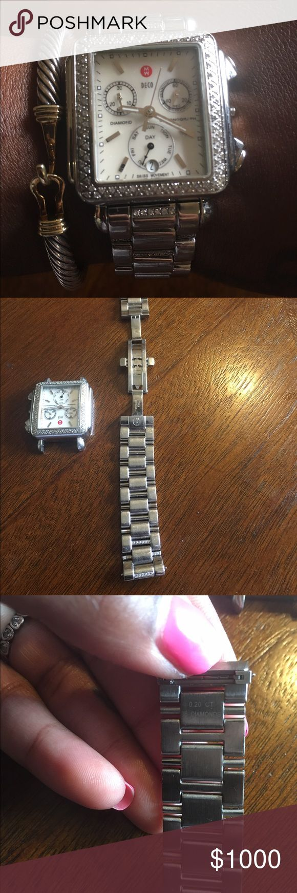 Michelle Deco Diamond Encrusted Watch 16 mm Michelle Diamond Encrusted Watch , Stainless Steel Band with .20 diamonds. Watch needs alittle TLC . Took to torneau and to get fixed will coast around 300 needs new crown being that it's missing and moisture related damage fixed. Can purchase separate or together . Recently replaced battery. Watch works fine otherwise Michele Jewelry