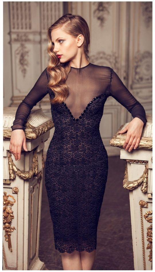 Black low cut dress