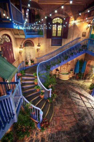 Amazing dreamy space: New Orleans, Orleans Squares, Disney Resorts, Disneyland Anaheim, French Quarter, Court Yard, House, Disneyland California, Courtyards