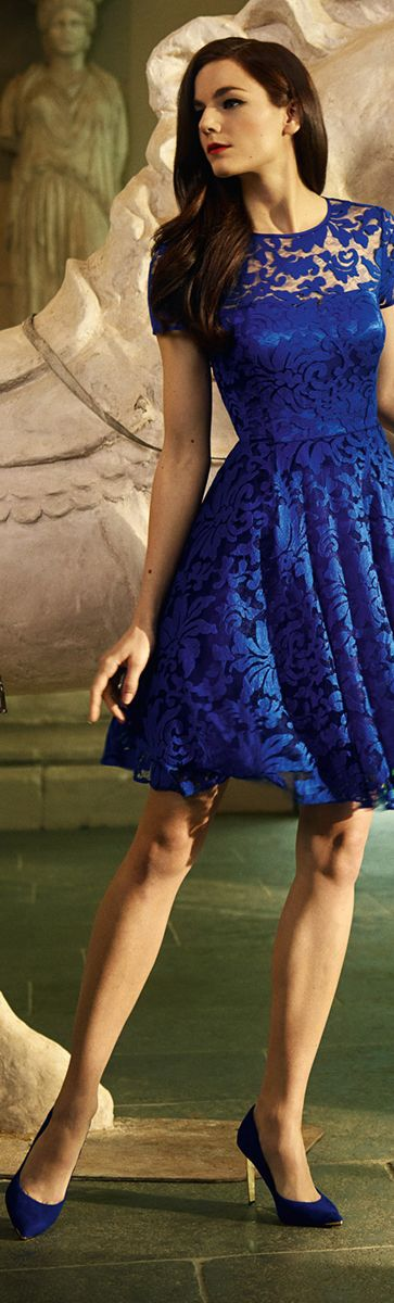 Ted Baker London AW 2014 ● Cobalt Blue: 'Lace Fit & Flare Dress'