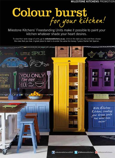 November issue HOME/TUIS magazine. Paint your kitchen any colour your heart desires with Milestone Free Standing Kitchen Units.