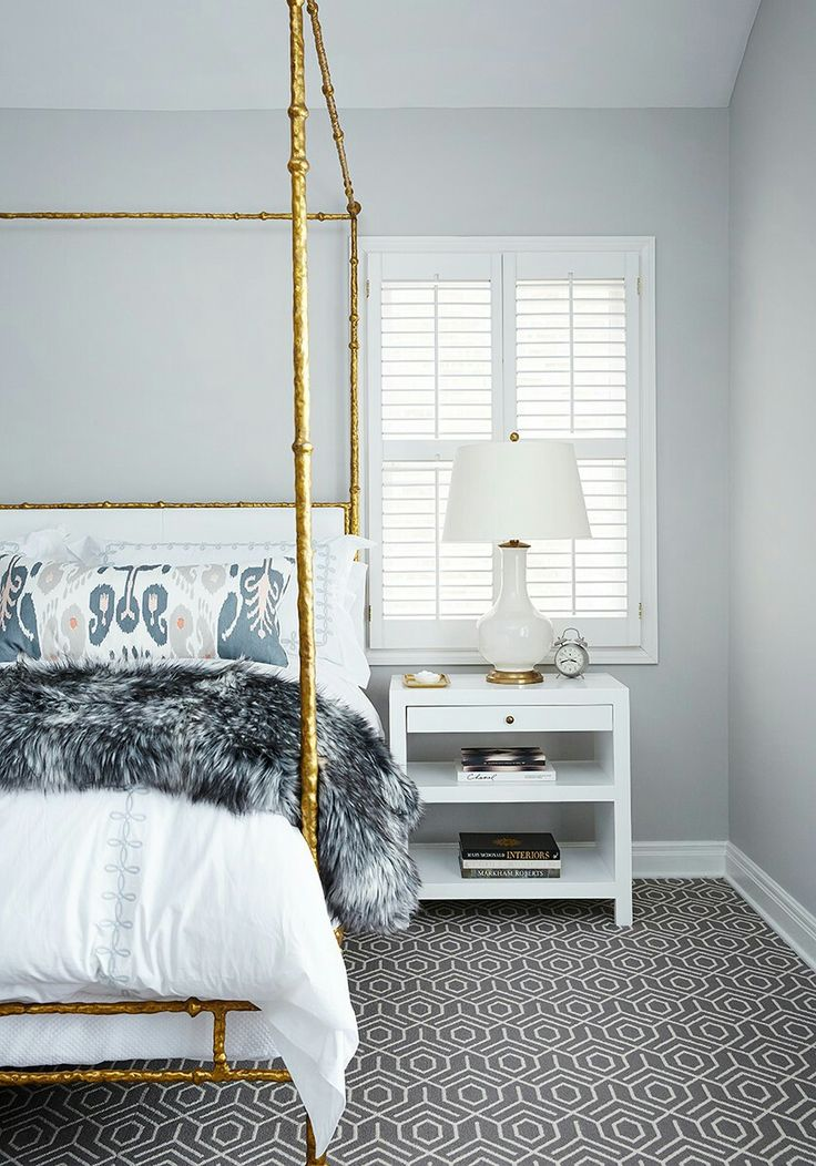 dream master bedroom%0A Love the geometric patterned carpet in this bedroom  Everything just works  so well together  delicate gold   poster bed  white linen and that  gorgeously