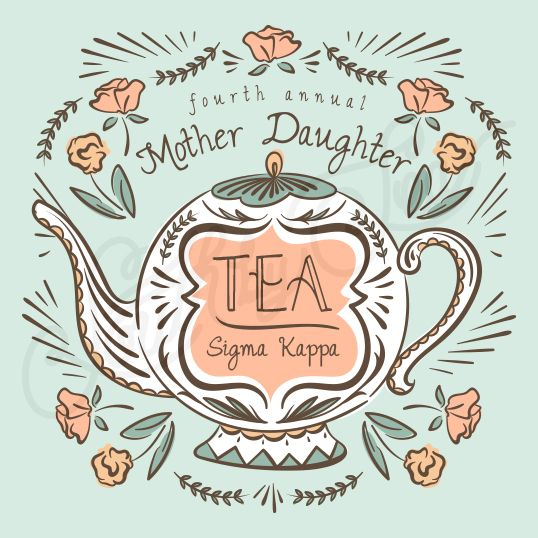 Sorority Social Sigma Kappa Mother Tea Floral South By Sea
