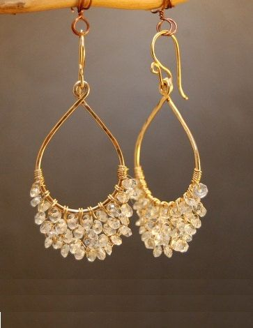 Luxe Bijoux 42 Hammered drop earrings with choice of stone