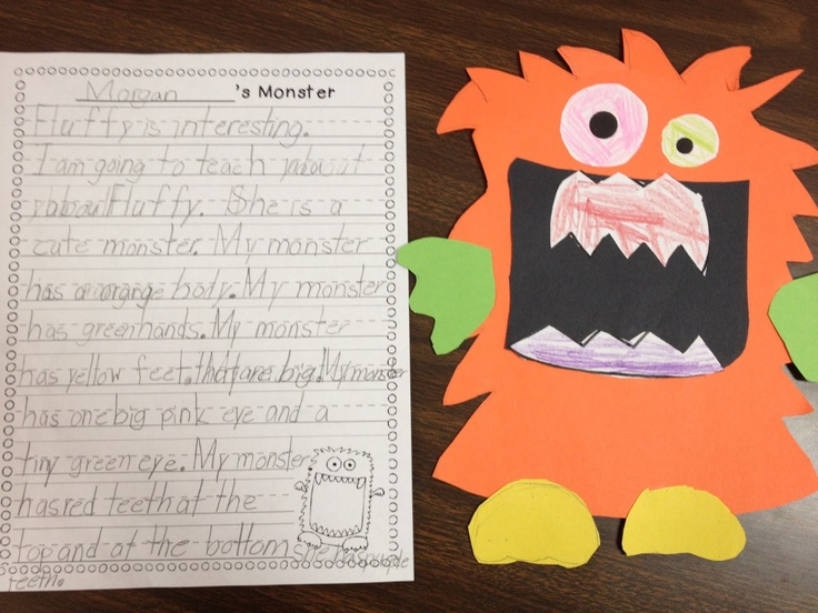 Monster writing: use for teaching adjectives