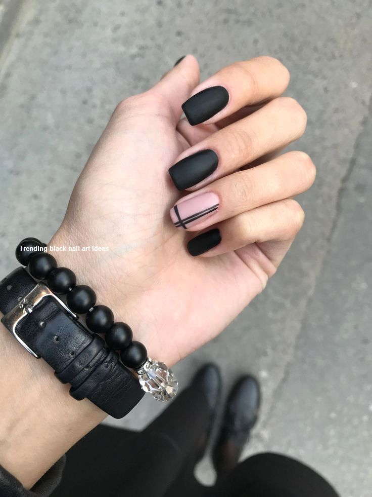 20 Simple Black Nail Art Design Ideas #nailartideas
