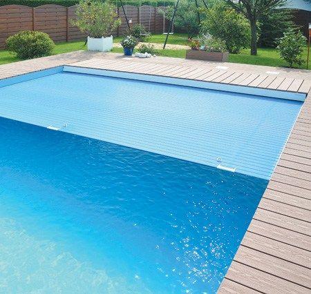 Жалюзийное покрытие ПВХ цветное для бассейна шириной до 9,0 м Del Франция