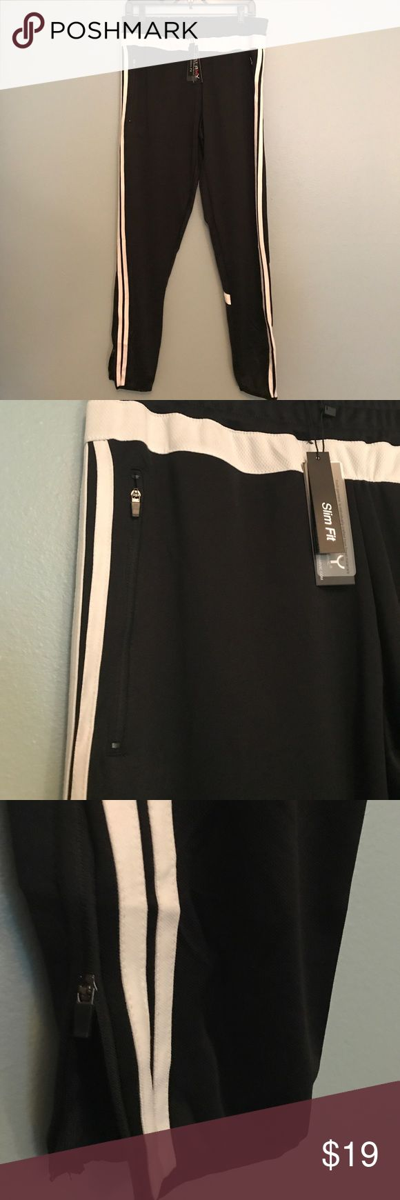 Galaxy Men's Joggers Sz Medium New with tags's men's slim fit joggers my galaxy. Regular retail $49.50. 100% polyester, drawstring waist to zip side pockets zipper at ankle. Black and white joggers Galaxy by Harvic Pants Sweatpants & Joggers