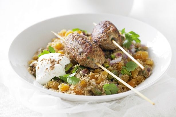 Lamb kibbeh kebabs with pistachio and apricot couscous