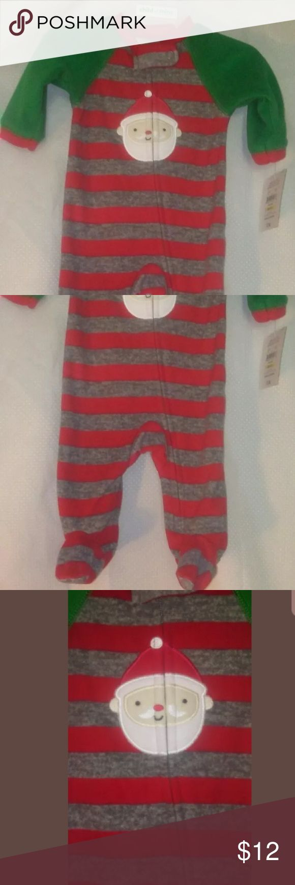 New child of mine carters Christmas Santa sleeper Fleece zipper child of mine carters One Pieces Bodysuits