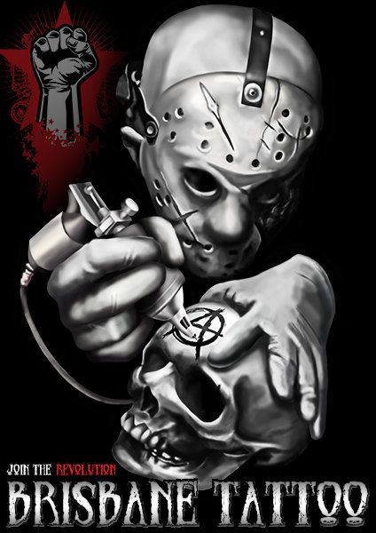 Brisbane Tattoo Jason Voorhees Tattoo A3 Giclee Art Print by MorbidCarousel on Etsy https://www.etsy.com/listing/485022599/brisbane-tattoo-jason-voorhees-tattoo-a3