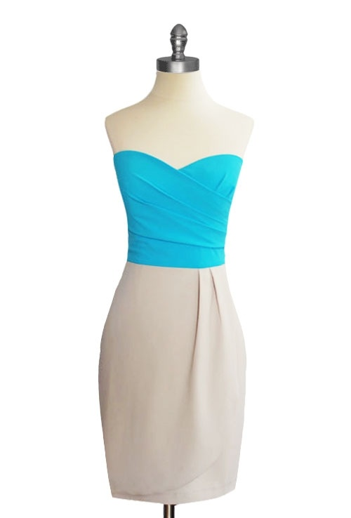 Sweetheart Strapless Dress in Aqua