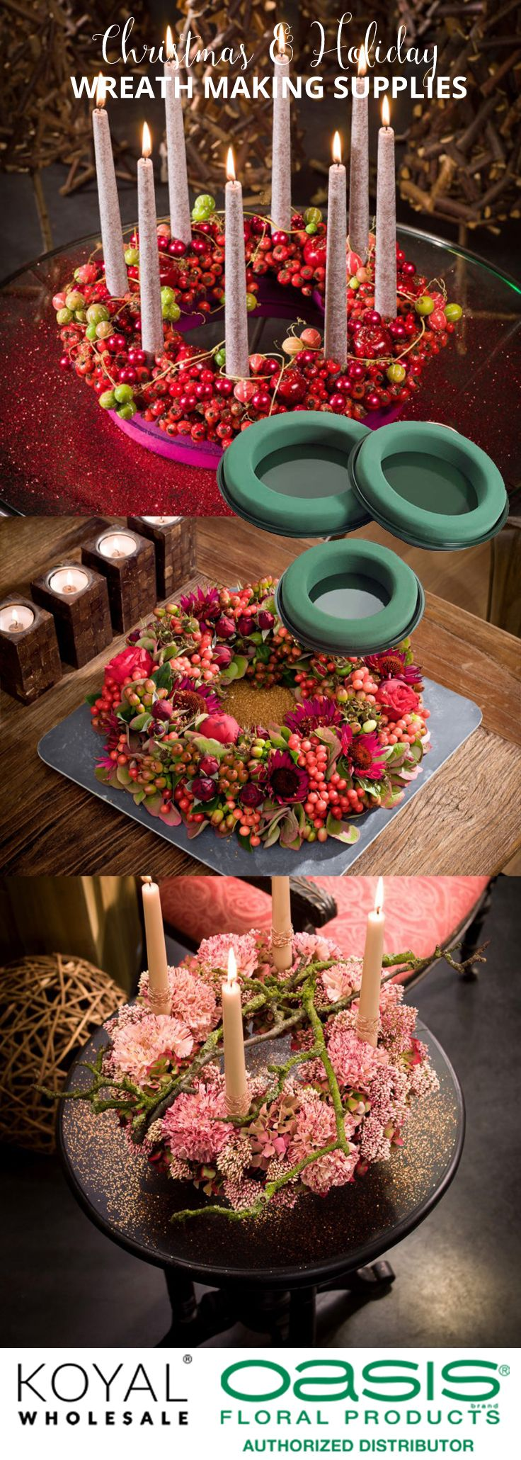 Christmas wreath making supplies, floral foam rings, table garland foam, floral foam cones, candle stakes, ribbon, floral wire, and more.  FREE SHIPPING ON ANY ORDERS.