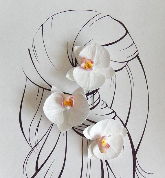 White Orchid Flower Hair Piece Floral Hair Pin Tropical Flower Etsy Flowers In Hair Floral Hair Pins Flower Hair Pieces