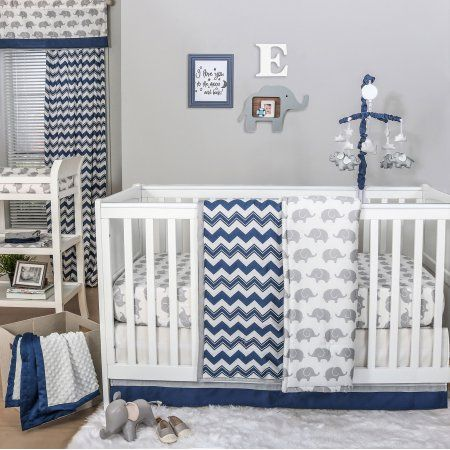 The Peanut Shell 4 Piece Baby Crib Bedding Set - Navy Blue Zig Zag Geometric and Grey Elephants - 100% Cotton Quilt, Dust Ruffle, Fitted Sheet, and Mobile